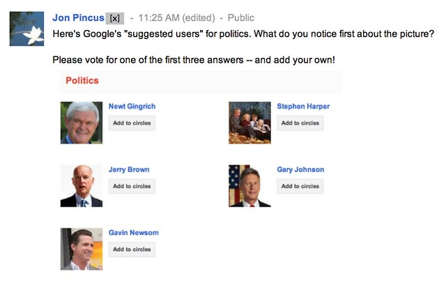 What do you notice first about the picture of Newt Gingrich, Jerry Brown, Gavin Harper, Gary Johnson, and Stephen Harper?