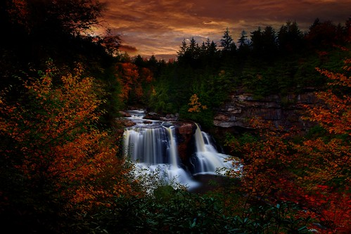 Autumn Waterfall Sunset