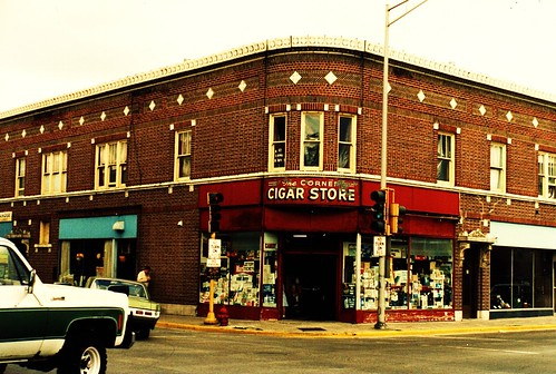 An old neighborhood corner cigar store. (Gone.)  Cicero Illinois USA. June 1985. by Eddie from Chicago