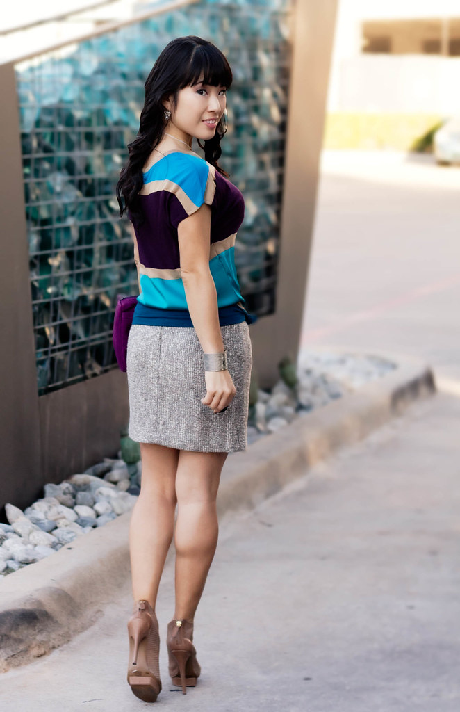 express color block tee, bb dakota groton tweed skirt, sole society marco santi kerries, the limited silver pendant necklace, silver dimpled cuff, rebecca minkoff magenta mac clutch, mk5430