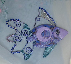 Polymer Clay & Colored Wire Fish (auntgriz) Tags: pin brooch polymerclay pendant polymerclayjewelry coloredwire knightworkstudio mixedmediafish wovenwirefish lavenderbluefish