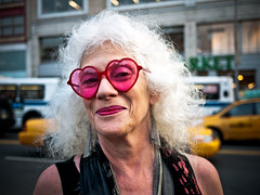 Looking through the eyes of love (sjmgarnier) Tags: street newyorkcity pink portrait people urban woman usa newyork cars smile sunglasses smiling hearts glasses manhattan awesome taxis september sidewalk 14thstreet portfolio unionsquare cabs heartshape whitehair heartglasses 2011 pinksunglasses yellowcabs yellowtaxis pinkhearts