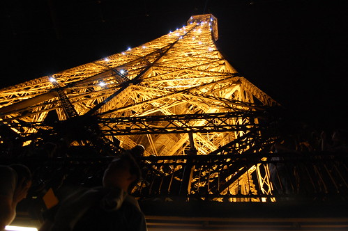 Eiffel Tower twinkling at night