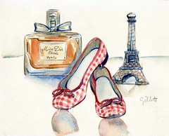 Ballerinas 9.8.11 (Paris Breakfast) Tags: tower watercolor perfume eiffel ballerinas