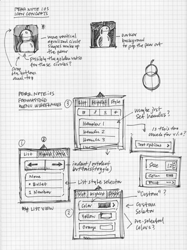 Pear Note for iPad: Icon & Menu Sketch