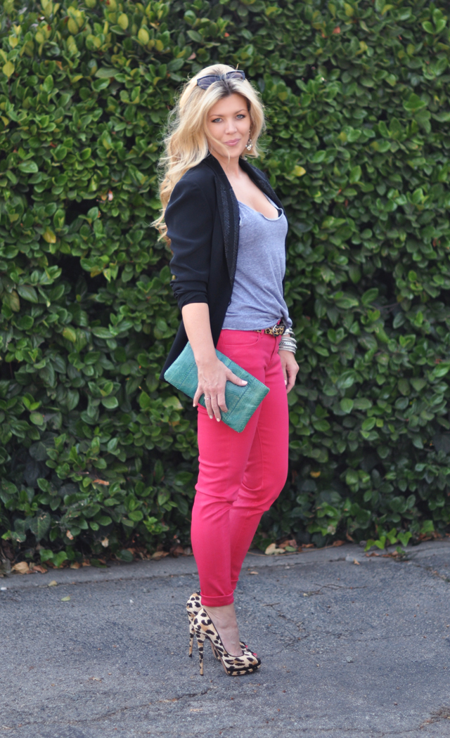 J Brand for FNO pink jeans   and  leopard shoes