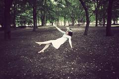 Defying Gravity () Tags: white girl forest vintage dark flying dress levitation dreamy vignette levitate