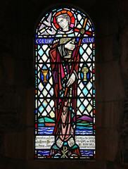 St Columba stained glass window, Iona Abbey, Scotland (martin97uk) Tags: uk window glass abbey saint st scotland stained iona cille mull isle colum columba