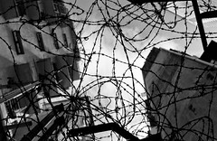 Barbed City (ROSS HONG KONG) Tags: street leica city sky bw white black classic buildings hongkong wire apartments voigtlander barbedwire barbed causewaybay 3514 m9p voigtlanderclassic3514mc