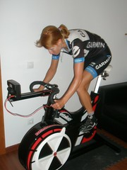 Carla Ryan trains on a Wattbike