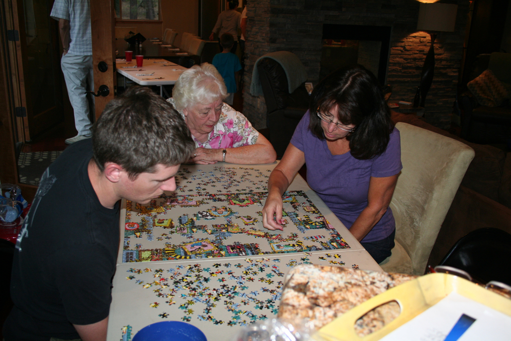 More puzzle--Eric is now obsessed... Mom (Mary) and Grandma Lila join in...