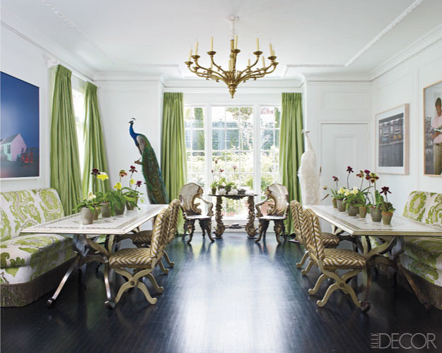 Refreshing Emerald Green Brunschwig Fils Silk Curtains With Greek Key Trim Hang In This Cozy Dining Room Designed By Miles Redd