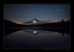 Jewel of Oregon (Ben Canales) Tags: mountain reflection water oregon stars glow mthood starry snowcats trilliumlake nightglow airglow landscapeastrophotography bencanales thestartrail jeweloforegon