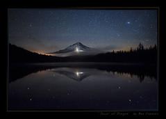 Jewel of Oregon (Ben Canales) Tags: mountain reflection water oregon stars glow mthood starry snowcats trilliumlake nightglow airglow landscapeastrophotography bencanales thestartrail jeweloforegon