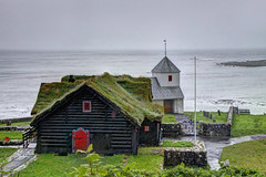 Parish church at Kirkjubour, Streymoy, Faroe Islands (**Anik Messier**) Tags: middleages faroeislands faroes kingdomofdenmark traditionalhouses kirkjubur kirkjubour lesfro streymoyisland sodroofs artistpicks saintolavschurch anikmessiercopyright