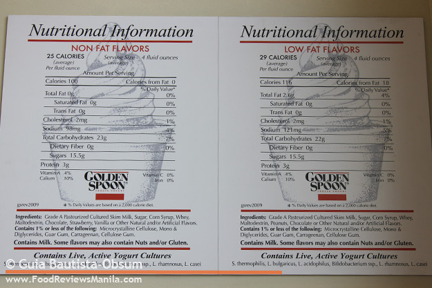 Golden Spoon nutritional information