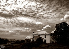 Frankford House Landscape (Dark Scene Photography) Tags: blackandwhite house ontario canada abandoned field sepia clouds farm sony forgotten dslr a500
