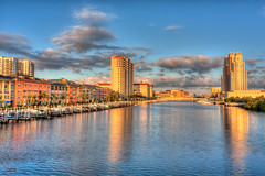 Sunlit Harbour Island and Marriot (Photomatt28) Tags: sunrise tampa classroom florida flag stove condos largo hdr topaz harbourisland harrisschool photomatix heritagevillage marriotwaterside seddonchannel niktampa reflectionsblackboard