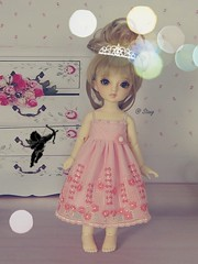 Pink flower dress for Yosd, Volks (BeautifulPinPin) Tags: pink wedding outfit doll dolls dress lace cloth volks yosd kakeru beautifulpinpin bjdcloth