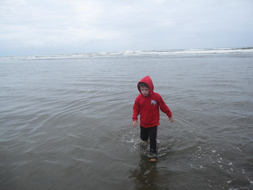 A boy plays in the ocean
