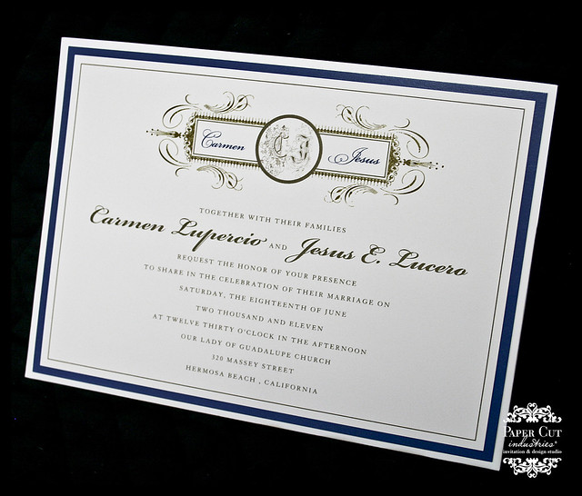 Custom navy blue and gold pocket envelopments wedding invitation
