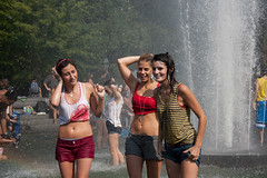 Cooling Off (TomBrooklyn) Tags: park nyc girls wet fountain portraits manhattan washingtonsquarepark guesswherenyc nycguessed daytime midriff gszguessed