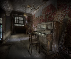 The HauntEd HoteL :: (andre govia.) Tags: music building abandoned buildings hotel chair closed decay ghost piano motel down andre creepy spooky pianos derelict hounted govia
