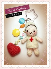 Nurse Keychain (Jaravee) Tags: cute keychain doll handmade crochet craft charm kawaii nurse amigurumi