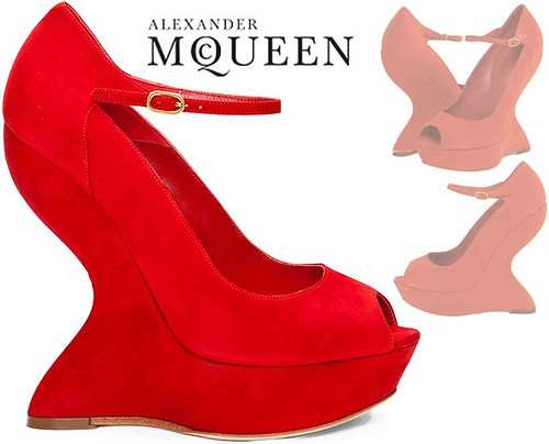 Alexander-McQueen-Red-Velour-Wedge