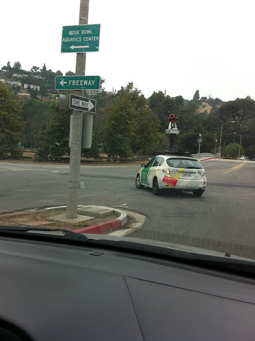 Google street view car at the Rose Bowl