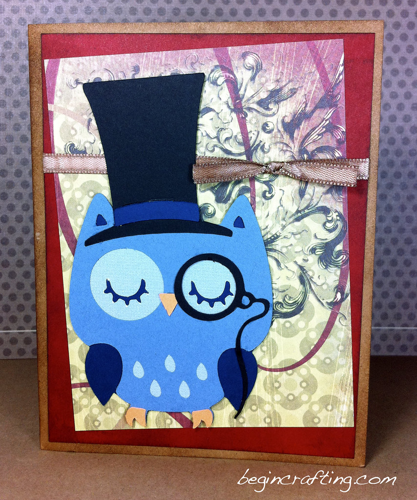 Handmade Top Hat Owl Card