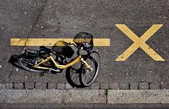X Marks the Spot (gomattolson) Tags: road street shadow bicycle yellow switzerland europe zurich x xmarksthespot