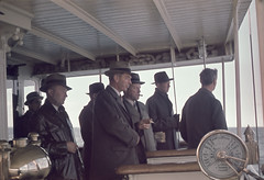 Men on a steamer, Lake Vttern, Smland, Sweden (Swedish National Heritage Board) Tags: hat boat ship cigarette smoking atsea overcoat maninhat shipsbridge riksantikvariembetet shipstelegraph motalaexpress theswedishnationalheritageboard ssmotalaexpress