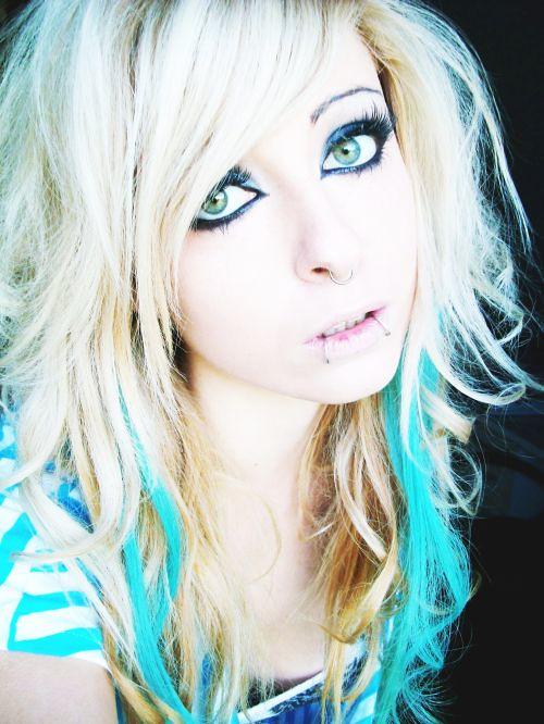 Bibi Barbaric emo scene hair style blonde blue curly eyes make up