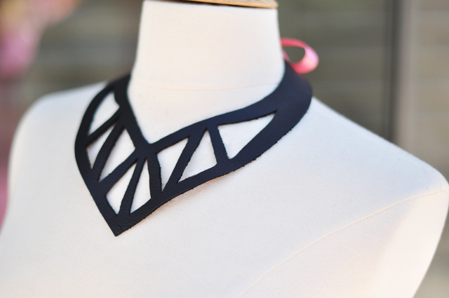 leather cut out statement necklace