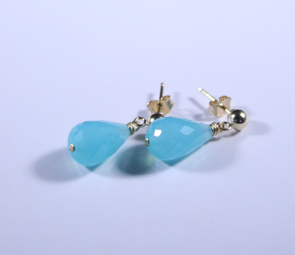 Gold Filled and Chalcedony Earrings