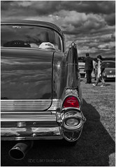 The Other Half - Chevy (Steve's Photography :-)) Tags: old uk light sky bw classic chevrolet hat car reflections blackwhite kent nikon chevy chrome cap american motor d200 carshow faversham selectivecolouring abbeyschool colourpopping steveclancy helpahero