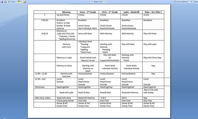 Our Homeschooling Schedule 2011