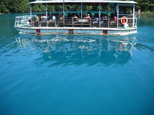 Cruising in an Electric Boat, Plitvice National Park, Croatia