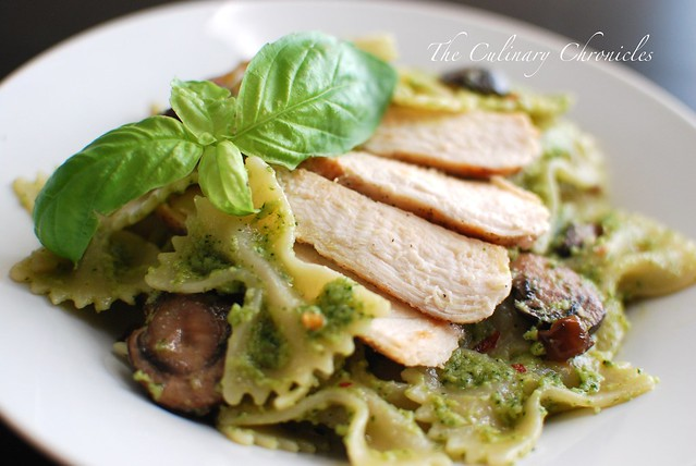 Arugula Pesto Farfalle with Grilled Chicken