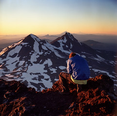 Top (Zeb Andrews) Tags: sunset film oregon square climb top horizon hike josh hasselblad summit pacificnorthwest southsister 10000ft bluemooncamera northandmiddlesistersinthedistance 368more