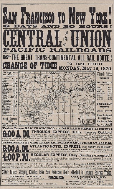 05/16/1870 Central & Union Pacific Railways Cross-Country Service Opens