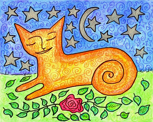 Sleepy Spiral Cat  by Melsky