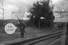 I'm lost (Nymphaeum) Tags: blackandwhite bw espaa blancoynegro illustration photoshop lost spain asturias cables nio ilustracin littlemonster monstruito mlost