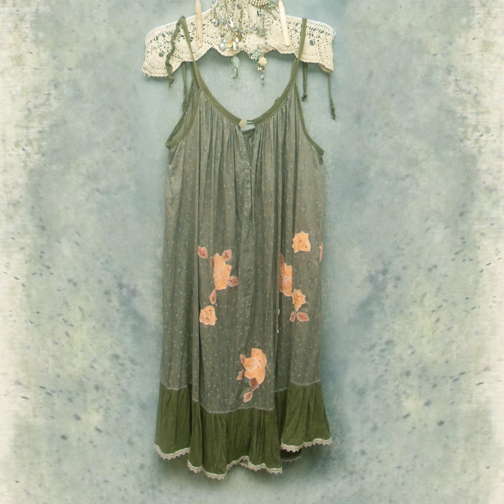 Ruffled Babydoll Dress Cotton Floral Print Appliqued Sundress