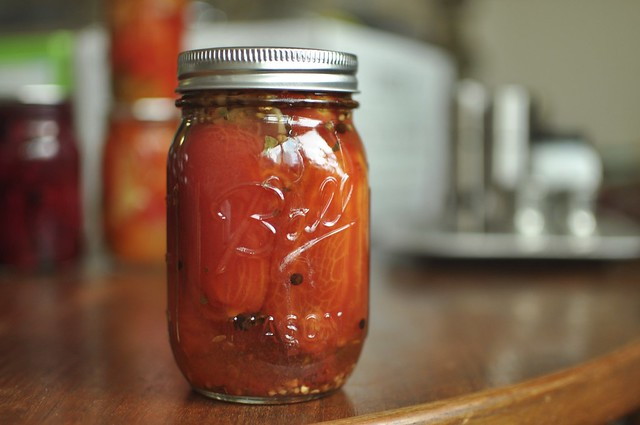 one jar of pickled red tomatoes