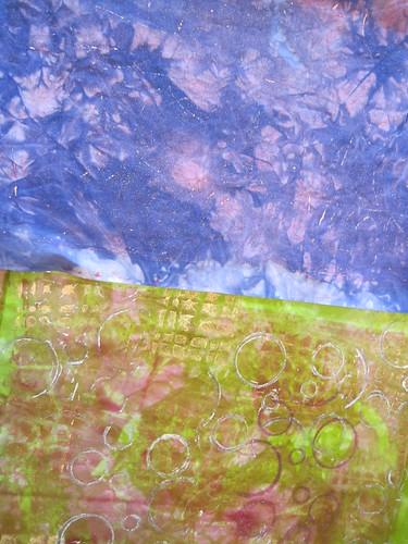 gelatin printing on my hand dyed fabrics