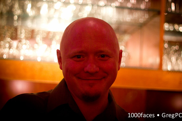 Face - the round red head of a glassblower turned bartender