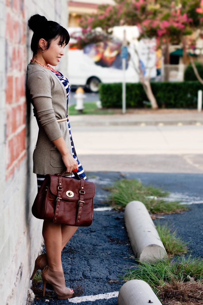 banana republic taupe cardigan, loft wanda striped dress, marco santi kerriess perforated booties, ann taylor gold skinny belt, mk5430, forever 21 leatherette wrap bracelet, forever 21 gold chain bracelet, vieta lucille handbag, the limited coral necklace
