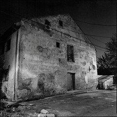 one more (OverdeaR [donkey's talking monkey's nodding]) Tags: old urban bw building 120 6x6 film architecture night facade mediumformat square soup 50mm bend kodak decay tx trix rustic stock perspective ps scan d76 negative bronica pre 400 scanned ww2 belgrade beograd solution sqa fail srbija f35 tx400 staro 5035 sajmište zenzanon homedev zenzanonps tripodlove